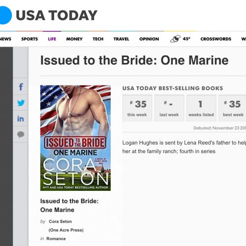 Issued to the Bride: One Marine is a USA Today bestseller